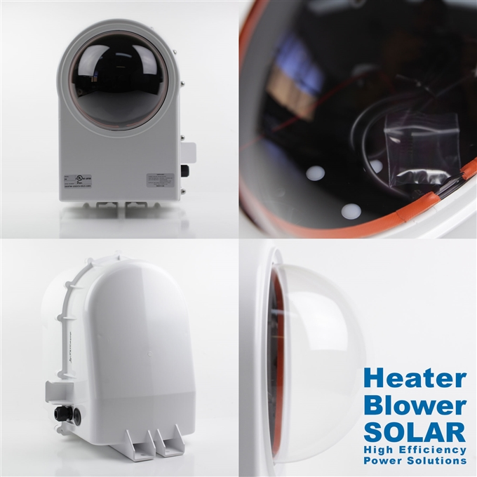 Dotworkz High Efficiency Power D3 Solar Heater Blower Camera Enclosure IP68 for Low Power Applications (D3-HB-SOLAR)