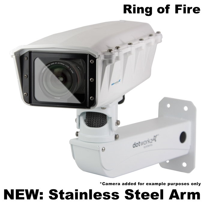 Dotworkz S-Type Ring of Fire De-Icing Camera Enclosure and Stainless Steel Arm IP68 (ST-RF-MVP-SS)