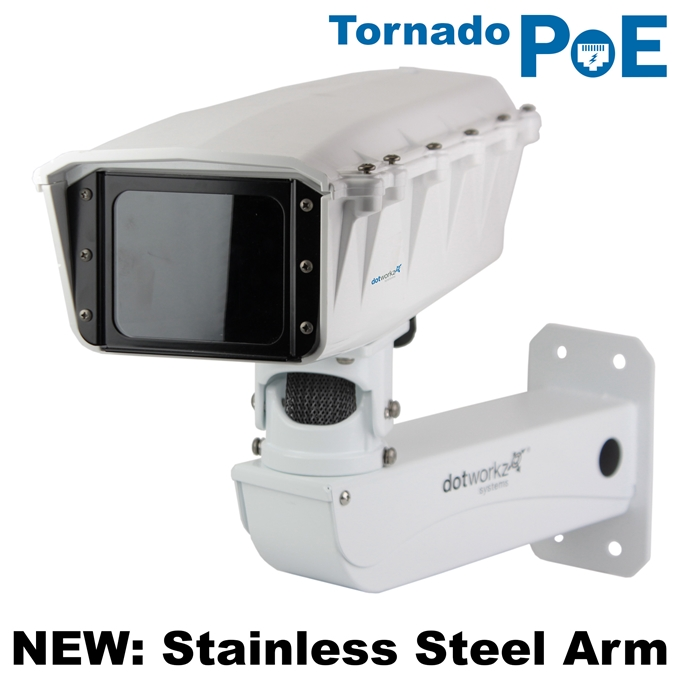 Dotworkz S-Type Tornado Dual Blower Camera Enclosure and Stainless Steel Arm IP68 with PoE (ST-TR-POE-SS)