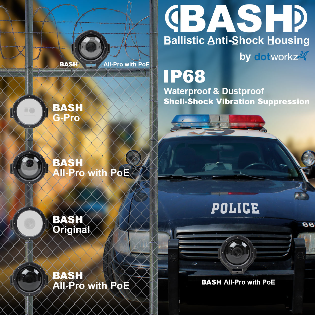 dotworkz 2015 bash is the ultimate in physical secuirty camera enclosures with cop car with bash models listed