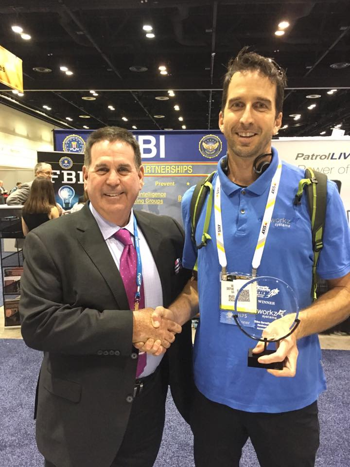 Dotworkz 2016 Will Ferris accepting the New Product of the Year award at ASIS 2016