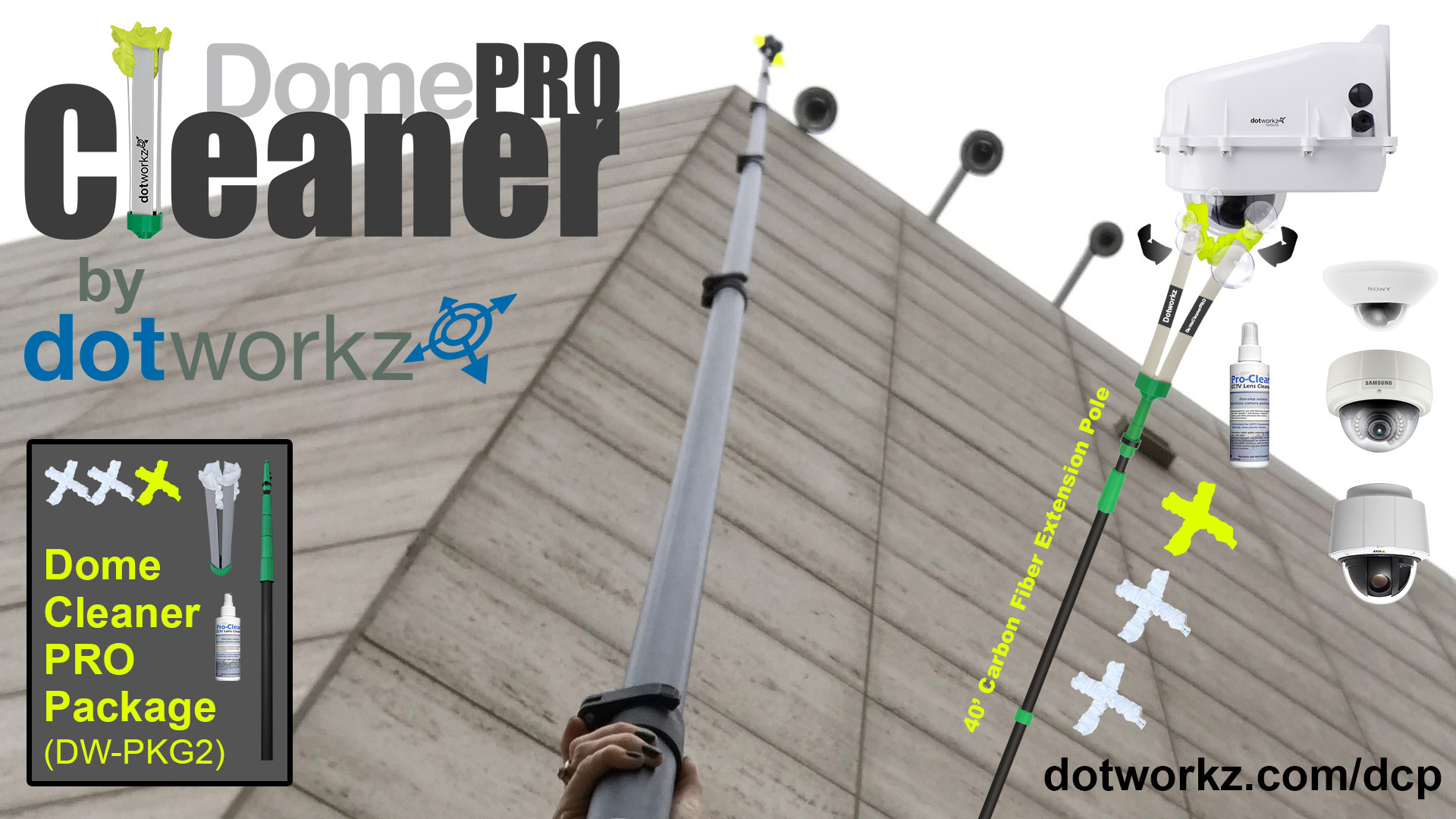 DomeCleanerPRO (Carbon Fiber Pole and MicroFiber Mitts