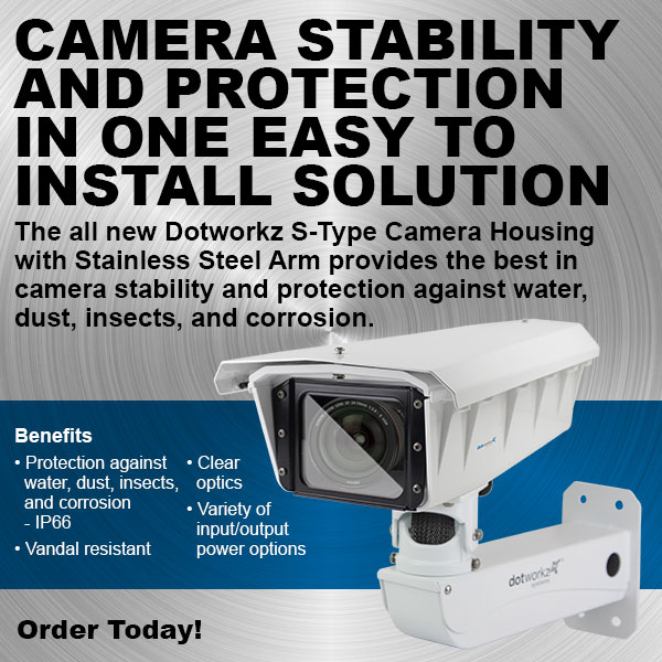 dotworkz 2017 s type camera housing with stainless steel arm for protection against water dust insects and corrosion